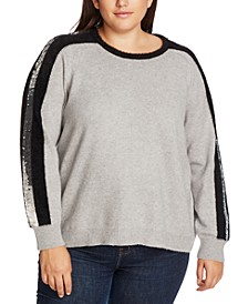 Trendy Plus Size Sequin-Stripe Sweater
