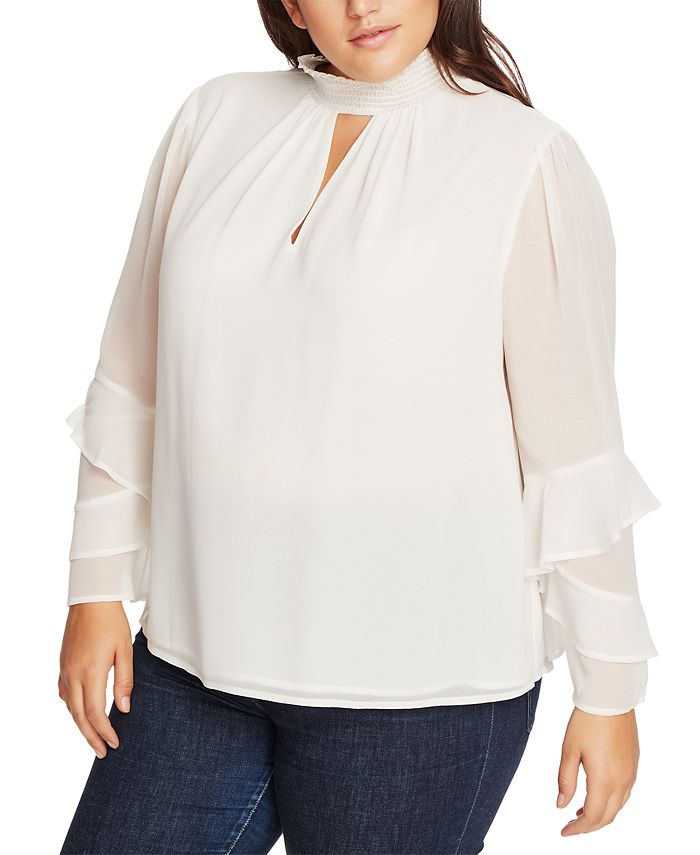 1.STATE - Trendy Plus Size Smocked Ruffle-Sleeve Top