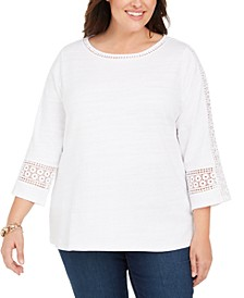 Plus Size Crochet-Trim 3/4-Sleeve Cotton Top, Created For Macy's