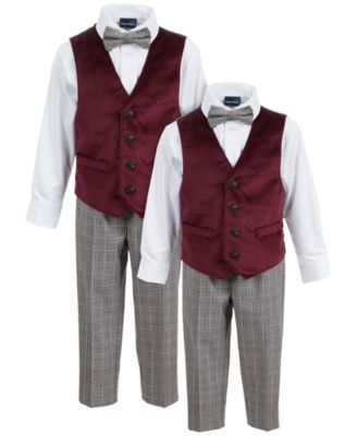 Little Boys Regular-Fit 4-Pc. Burgundy Velvet Vest Set