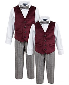 Baby, Toddler & Little Boys 4-Pc. Burgundy Velvet Vest Sets