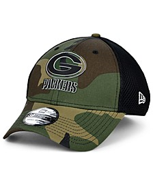 Green Bay Packers Black White Camo Mold Neo 39THIRTY Stretch Fitted Cap
