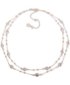 """Crystal Double Strand Collar Necklace, 16"""" + 3"""" extender"""