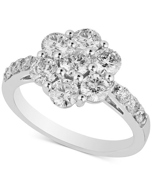 Macy S Diamond Flower Cluster Engagement Ring 2 Ct T W In 14k White Gold Reviews Rings Jewelry Watches Macy S