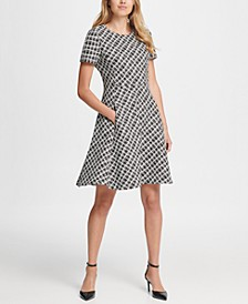 Wavey Plaid Short Sleeve Fit & Flare Dress