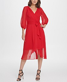 Balloon Sleeve Chiffon Midi Dress