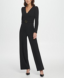 V-Neck D-Buckle Jumpsuit