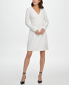 V-Neck Faux Wrap D-Ring Fit & Flare Dress
