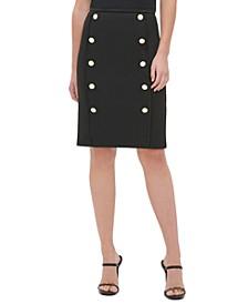 Button-Trim Pencil Skirt