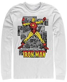 Men's Classic Comics Iron Man Invincible Comic Strips, Long Sleeve T-Shirt