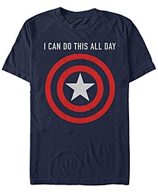 Men's Captain America I Can Do This All Day Target Shield Chest Logo, Short Sleeve T-Shirt