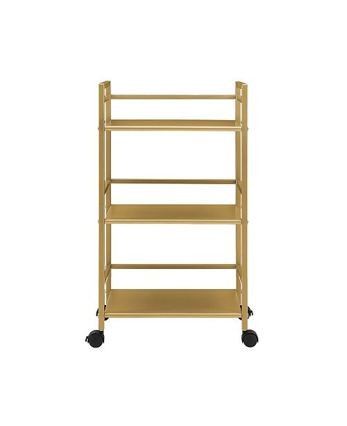 Novogratz Collection Novogratz Helix 3 Shelf Metal Rolling Utility Cart
