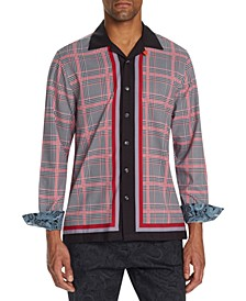 Men's Slim-Fit Performance Stretch Check Long Sleeve Camp Shirt