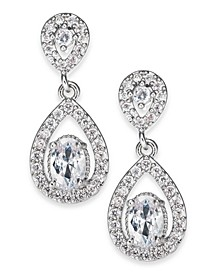 Silver-Tone Cubic Zirconia Drop Earrings, Created For Macy's