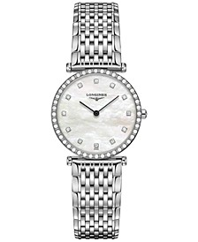 Women's Swiss La Grande Classique de Longines Diamond (3/8 ct. t.w.) Stainless Steel Bracelet Watch 29mm