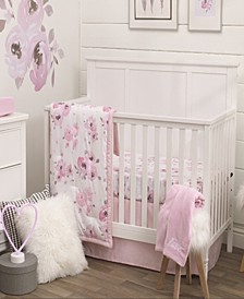 Watercolor Floral 4-Piece Crib Bedding Set
