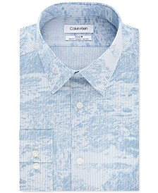 Calvin Klein Men's Steel Slim-Fit Non-Iron Performance Stretch Blue Abstract Stripe-Print Dress Shirt