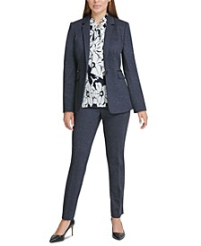 Knit One-Button Blazer, Floral-Print Pleated Tie-Neck Top & Knit Dress Pants