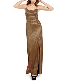 Juniors' Metallic Strappy-Back Gown
