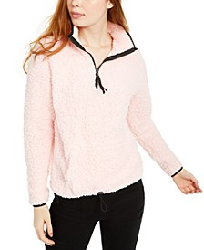 Juniors' Quarter Zip Sherpa Sweatshirt