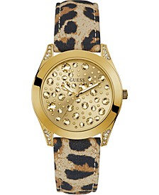 Women's Animal Print Leather Strap Watch 39mm