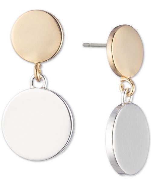 DKNY Two-Tone Double Disc Drop Earrings