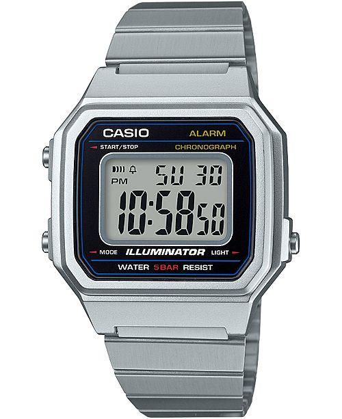Casio Men's Digital Vintage Stainless Steel Bracelet Watch 43.1mm