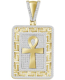 Men's Diamond Ankh Cross Greek Key Charm Pendant (5/8 ct. t.w.) in 10k Gold