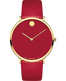 Swiss Modern Red Leather Strap Watch 40mm