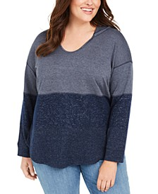 Plus Size Colorblocked Hoodie, Created for Macy's