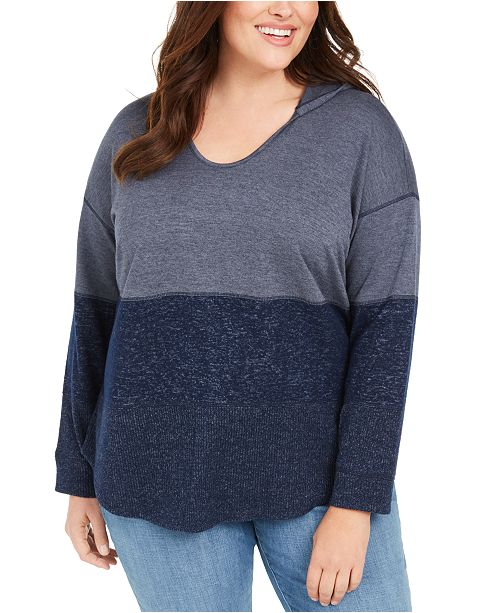 Style & Co Plus Size Colorblocked Hoodie, Created for Macy's