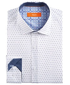 Men's Slim-Fit Performance Stretch White & Navy Dot Dress Shirt