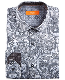 Men's Slim-Fit Performance Stretch Gray Paisley Dress Shirt