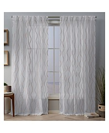 Belfast Woven Wave Embellished Sheer Hidden Tab Top Curtain Panel Pair