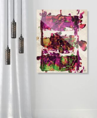 "Engine Block Magenta Abstract 24"" x 36"" Acrylic Wall Art Print"