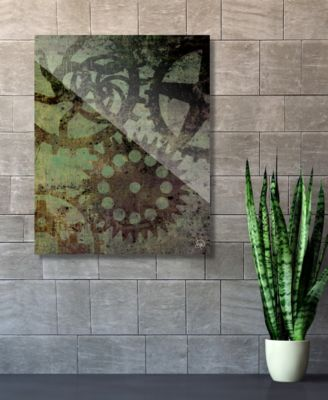 "Shadows of Gears Green Abstract 16"" x 20"" Acrylic Wall Art Print"