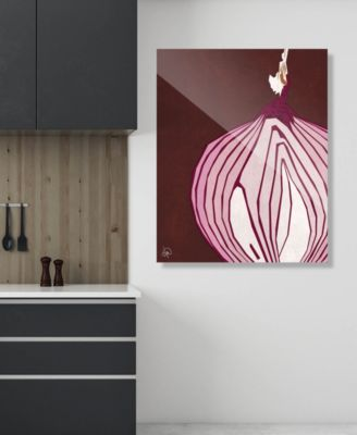 """Large Sliced Graphic Onion on Brown 20"""" x 24"""" Acrylic Wall Art Print"""