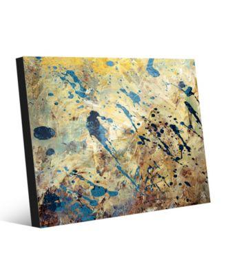 "Blue Rust on Light Yellow Paint Abstract 20"" x 24"" Acrylic Wall Art Print"