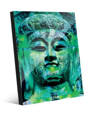 Teal Green Stained Buddha Abstract 16