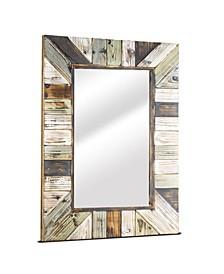 American Art Decor Rustic Wood Plank Farmhouse Rectangular Mirror