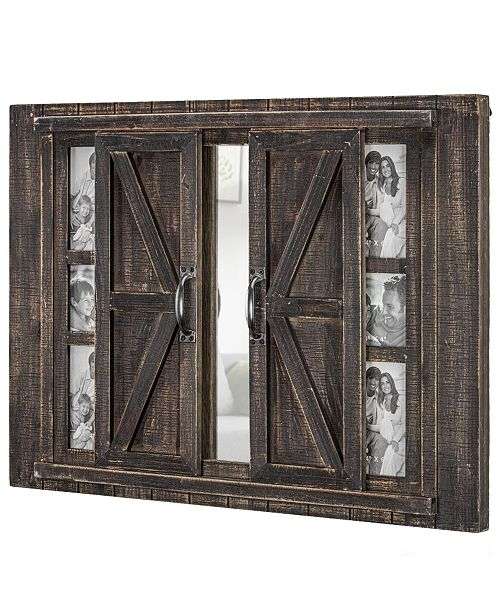 American Art Decor Rustic Barn Door Picture Frame With Mirror