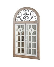 American Art Decor Rustic Cathedral Arch Window Shutter Wall Vanity Mirror