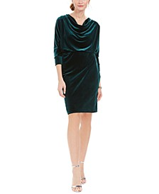 Petite Velvet Cowl-Neck Dress