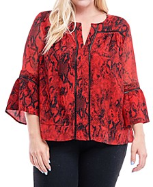 Plus Size Crochet-Trim Printed Blouse
