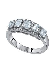 Graduating Five Stone Emerald & Round Diamond (1 ct. t.w.) Halo Ring in 14K White Gold
