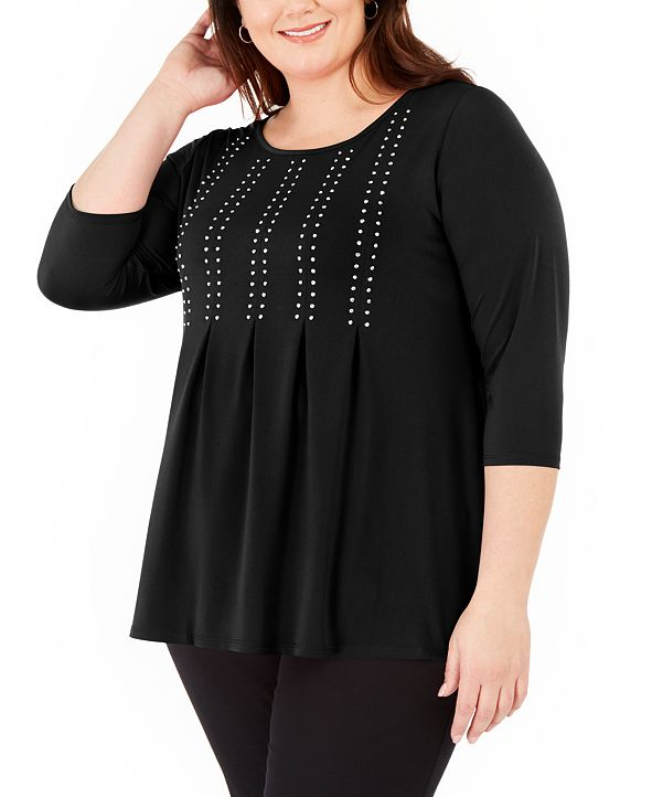 Belldini Plus Size Studded Pleated 3/4-Sleeve Top