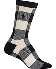 Women's Oversized-Buffalo-Check Boot Socks