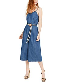 Juniors' Denim Gaucho Jumpsuit