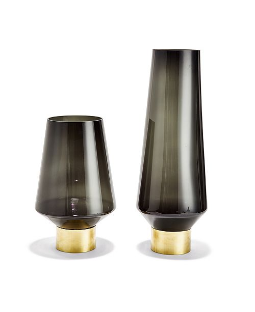 Two's Company Smoke Vases with Brass - Set of 2