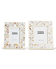 Flower White Inlay Mother Of Pearl Frame - Set of 2